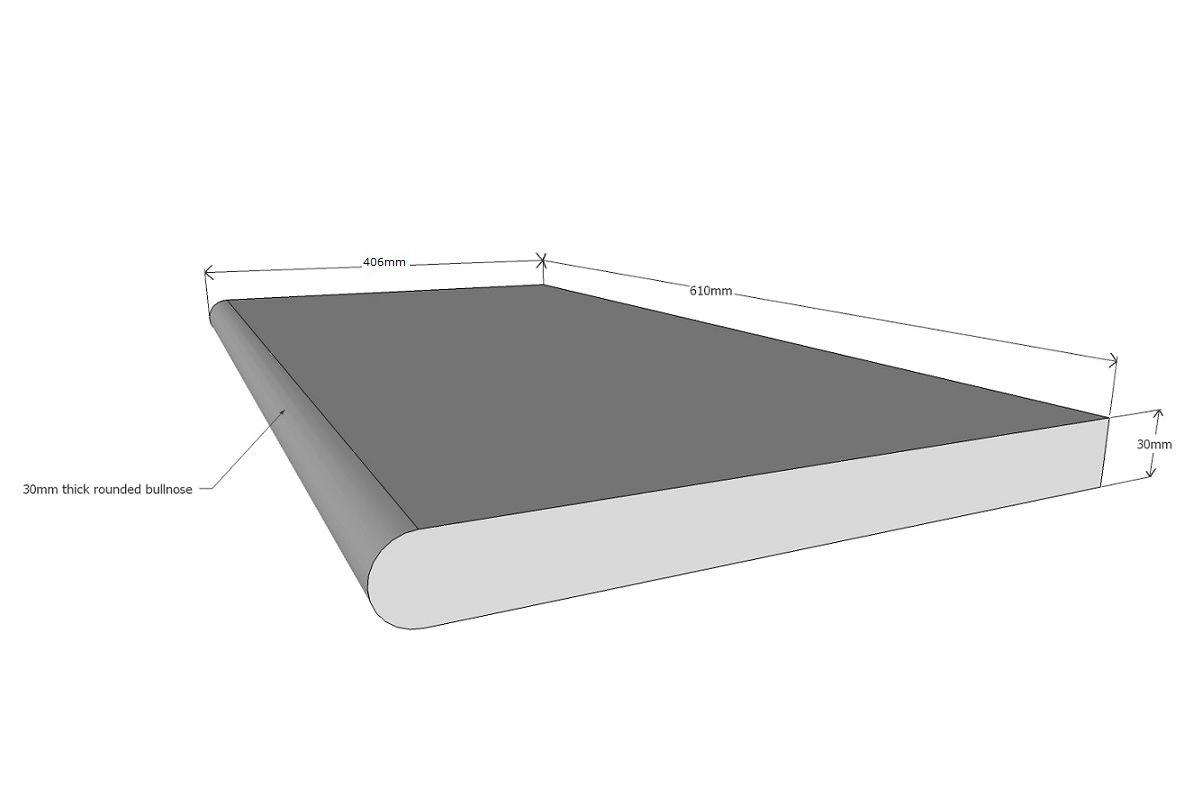 TRAVERTINE SILVER TUMBLED 610x406x30mm BULLNOSE ($/unit)