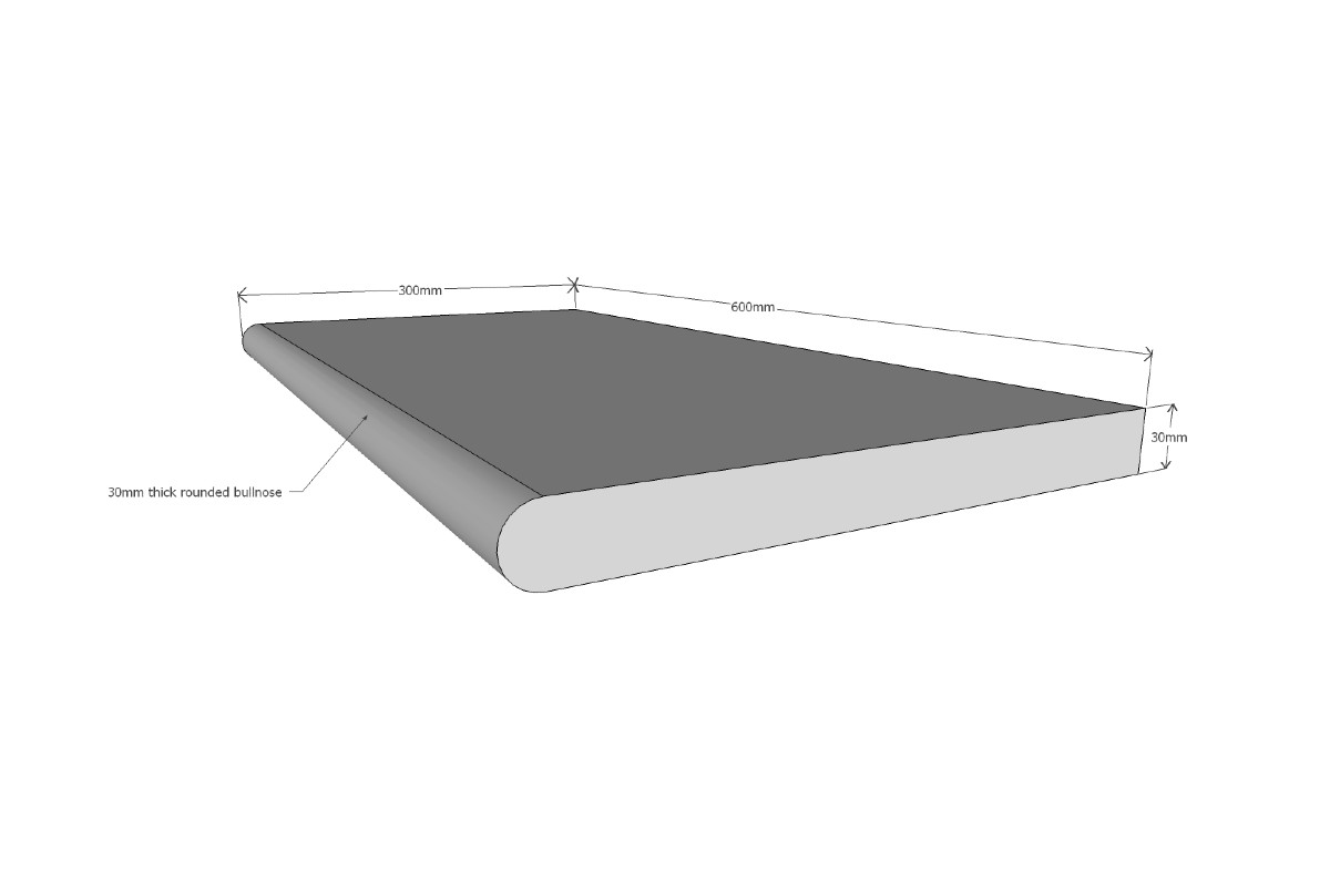 BLUESTONE GRAPHITE SINGLE BULLNOSE 600X350X30MM ($/UNIT)